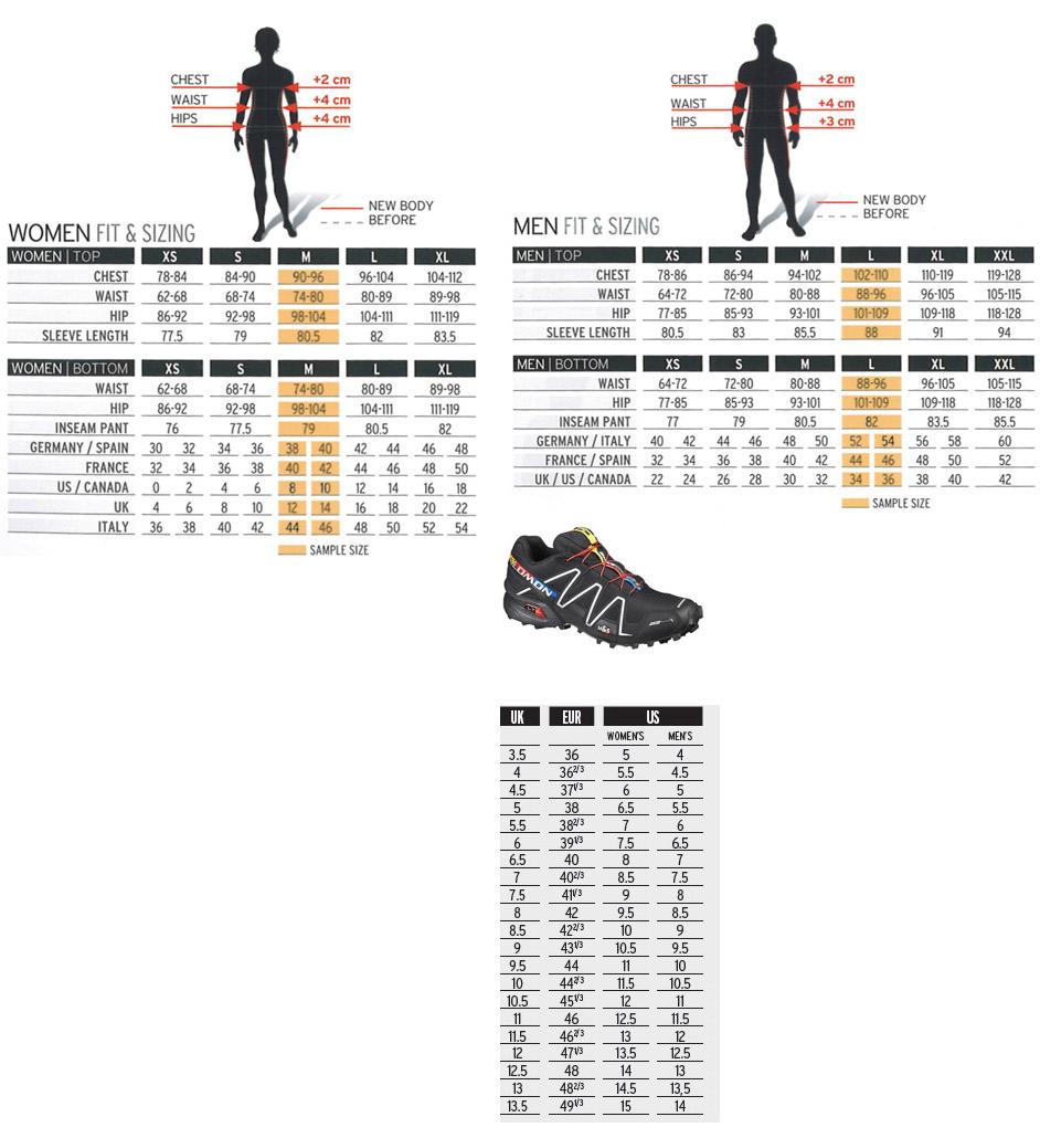 salomon speedcross 3 cs size chart
